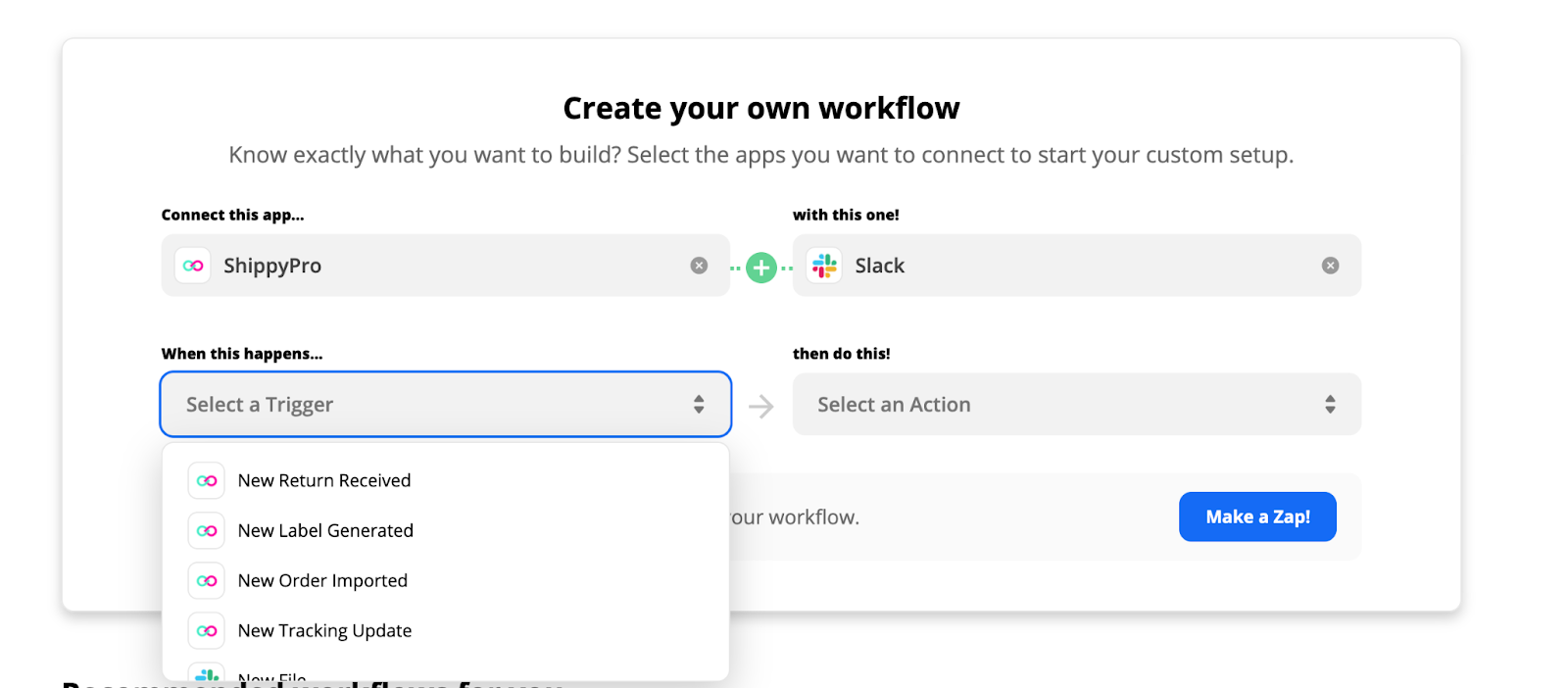 Choose a trigger and an action for your Zapier workflow (ShippyPro + Slack)